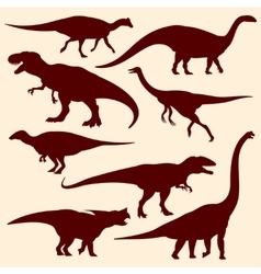 Dinosaurs fossil reptiles silhouettes vector