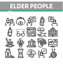 Elder people pensioner collection icons set vector