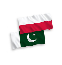 Flags pakistan and poland on a white background vector
