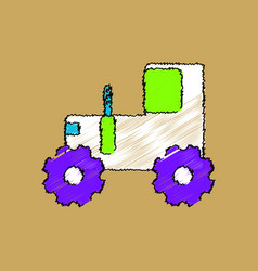 Flat shading style icon children tractor vector