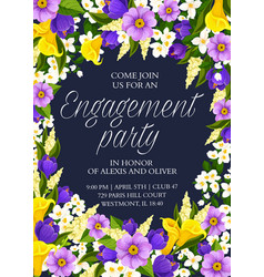 Flowers save date wedding party card vector