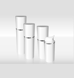 four airless bottles with a silver ring vector image