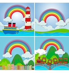 Four scenes with rainbow vector image