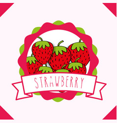 Fresh strawberry natural fruit organic emblem vector