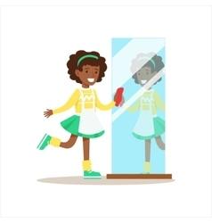 Girl Polishing The Mirror Smiling Cartoon Kid vector