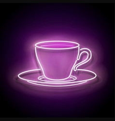 glow signboard with a cup coffee vector image