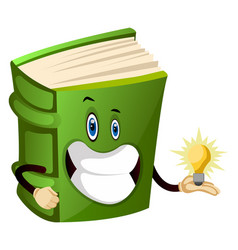 Green book has an idea on white background vector