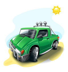 green cartoon off-road car vector image