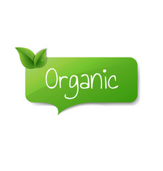 green organic label isolated white background vector image