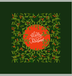 hand drawn greeting card on christmas with floral vector image