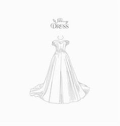 hand drawn wedding dress for wedding invitations vector image