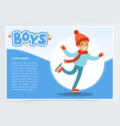 happy boy skating on ice rink boys banner for vector image