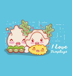 I love dumplings gastronomy vector