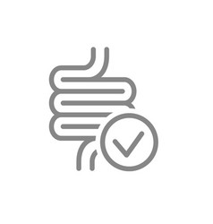 Intestine with tick checkmark line icon healthy vector