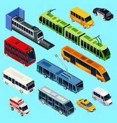 isometric public transport set vector image