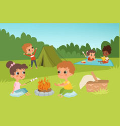kids summer camp background with children vector image
