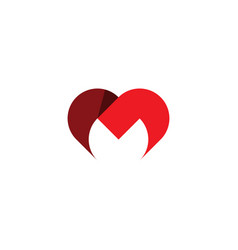 letter m heart logo icon red symbol vector image