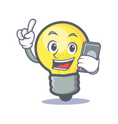 Light bulb character cartoon with phone vector
