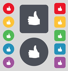 Like Thumb up icon sign A set of 12 colored vector