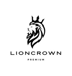 Lion king crown head logo template icon vector