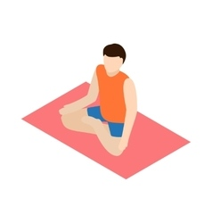 Man in yoga lotus pose icon isometric 3d style vector image