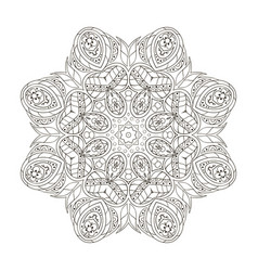 Mandala round floral ornament doodle drawing hand vector