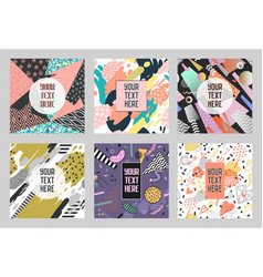 memphis abstract posters set with geometric shapes vector image