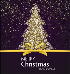 Merry christmas and happy new year xmas tree vector
