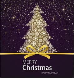 merry christmas and happy new year xmas tree vector image