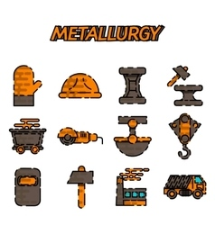 Metallurgy flat icon set vector