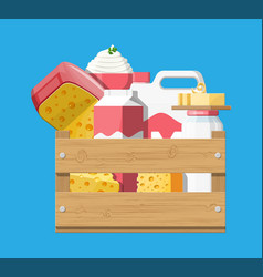 milk products set with cheese cottage and butter vector image