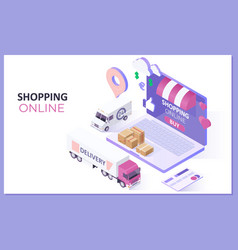 mobile application shopping online on website vector image
