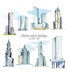 Modern sketch buildings colored vector image