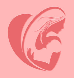 motherhood silhouette emblem on pink background vector image