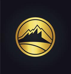 mountain icon company gold logo vector image
