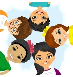 Multi ethnic group of children forming a circle vector