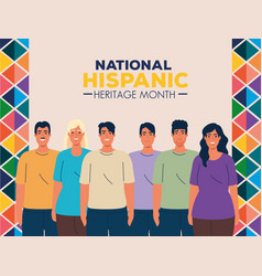 National hispanic heritage month with group of vector