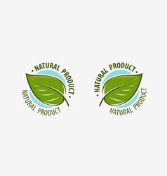 Natural product logo or label leaf symbol design vector