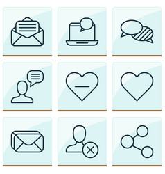 network icons set with like button inbox vector image