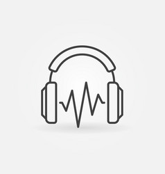 on-ear headphones with sound wave outline vector image