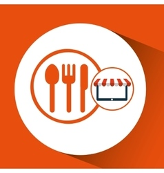Online shop restaurant design icon vector