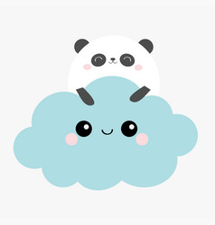 Panda bear face holding blue cloud in sky vector