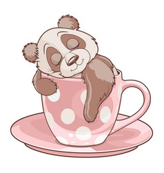 Panda sleeping in teacup vector