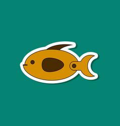 Paper sticker on stylish background kids toy fish vector