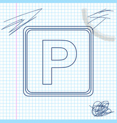 parking sign line sketch icon isolated on white vector image
