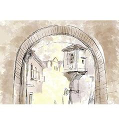 Passage between houses Subway vector