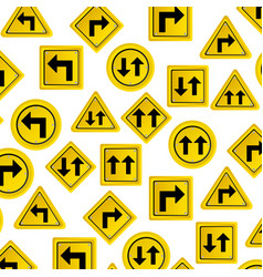 Pattern road traffic sign with arrows set vector