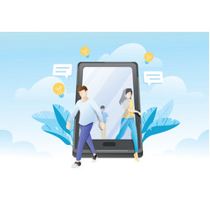 People walking out giant smartphone vector