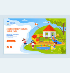 playground children website with text sample vector image