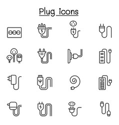 plug usb cable socket icon set in thin line style vector image